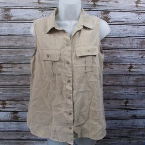 Chico's Women's Button Up Tank Top Pockets Blouse
